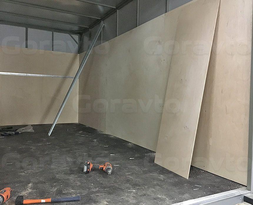 Обшивка промтоварного фургона берёзовой фанерой: Монтаж стен