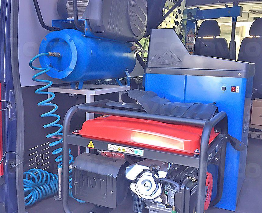 Мобильный шиномонтаж на основе фургона Fiat Ducato: Генератор и компрессор
