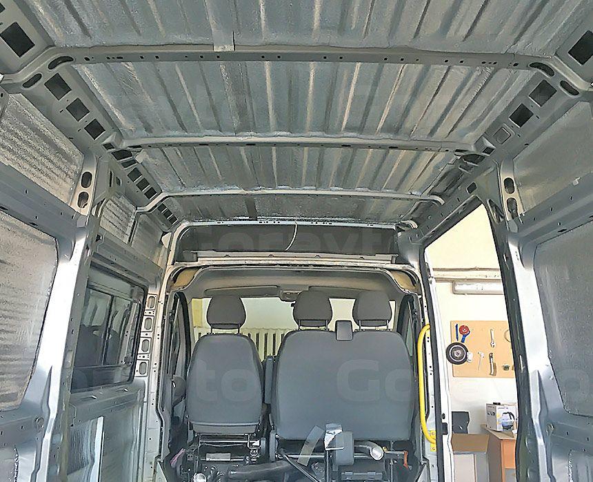 Шумоизоляция грузового отсека фургона Peugeot Boxer: Потолок и стены