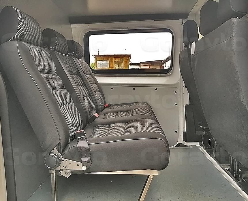 Переоборудование грузового фургона Citroen Jumpy в грузопассажирский: Монтаж трёхместного сидения в фургон