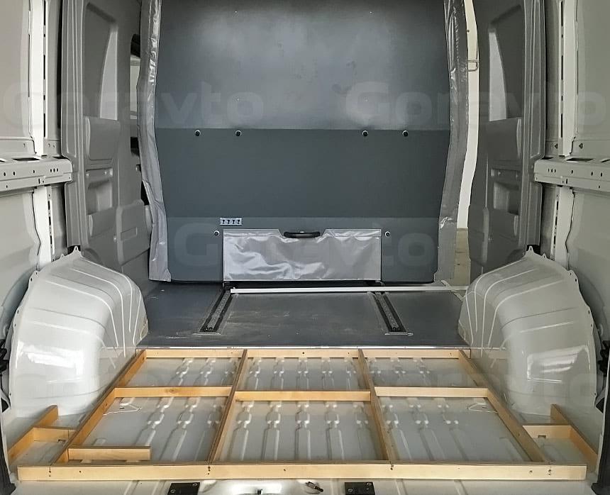 Подъём пола в грузовом отсеке грузопассажирского фургона: Установка пола в фургон
