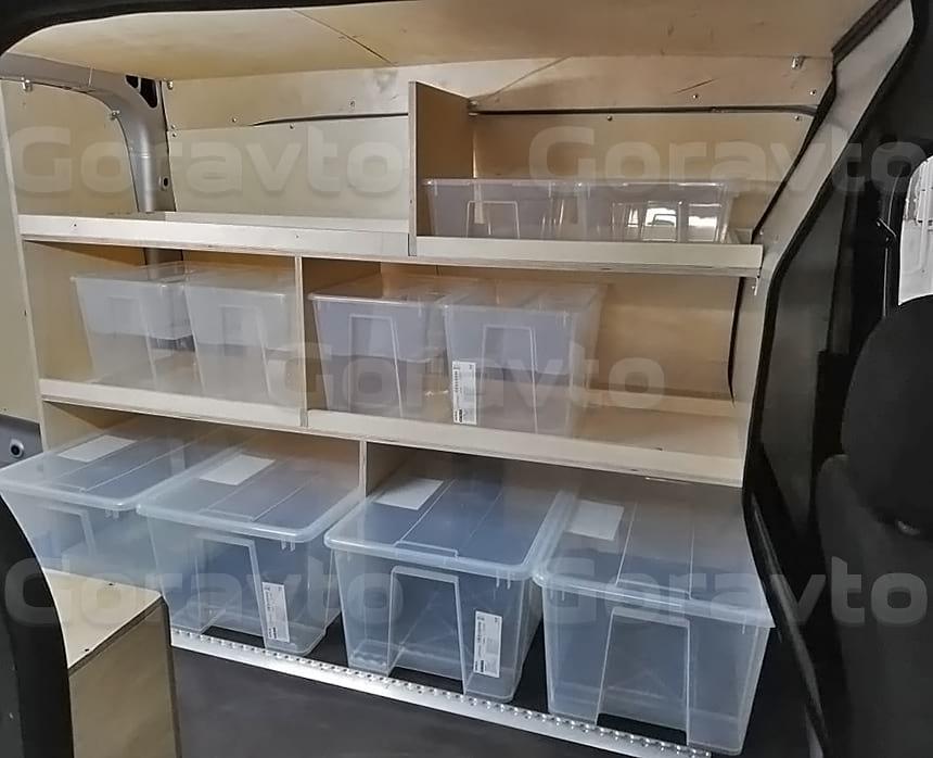 Изготовление и монтаж деревянных стеллажей в кузов Рено Докер