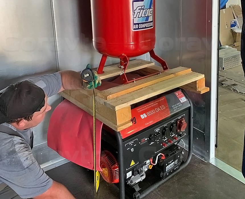 Замеры под раму для размещения компрессора над генератором