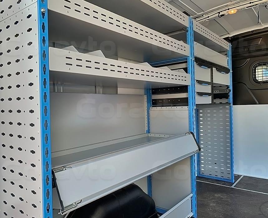 Изготовление и установка системы из двух стеллажей в фургон Ford Transit: Стеллажи с несколькими ярусами в фургон
